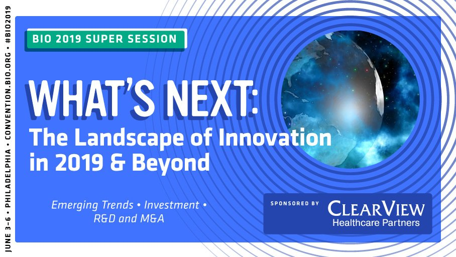 "Join us for the #BIO2019 Super Session ""What's Next: The Landscape of Innovation in 2019 and Beyond"" to hear about the future for R&D in the global pharmaceutical industry. @ClearViewHCP http://bit.ly/2WfsmeT"