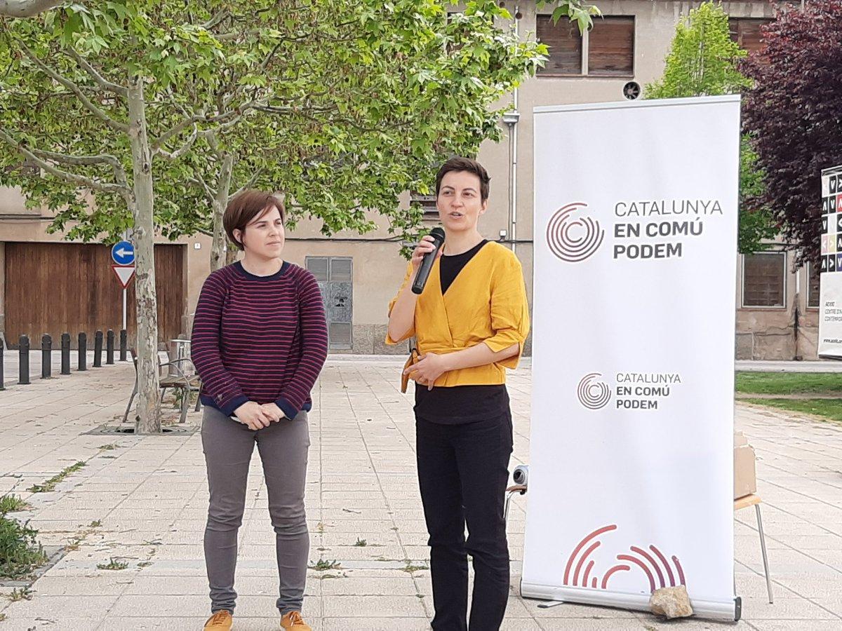 Aquesta tarda @ernesturtasun i @SkaKeller han vingut a Vic per donar suport a @vicencomupodem i per reivindicar que el vot a la seva candidatura és un vot de contenció a lextrema dreta a Europa i de lluita contra el canvi climàtic.