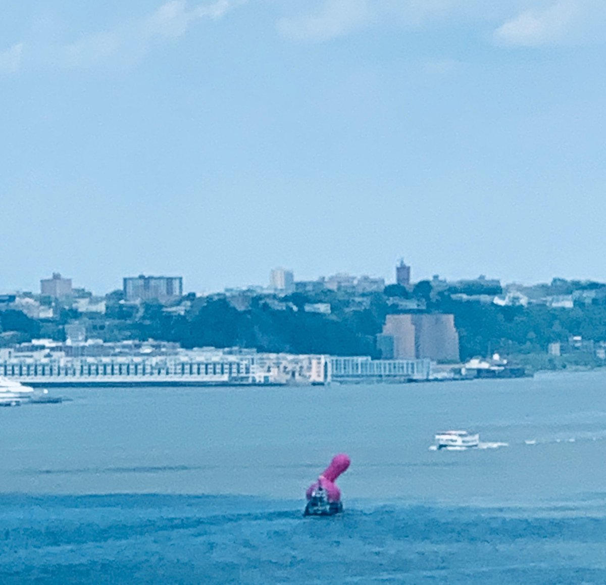 It would appear there's a large pink penis floating along the Hudson River. #NYC <br>http://pic.twitter.com/iyfyWgLm01