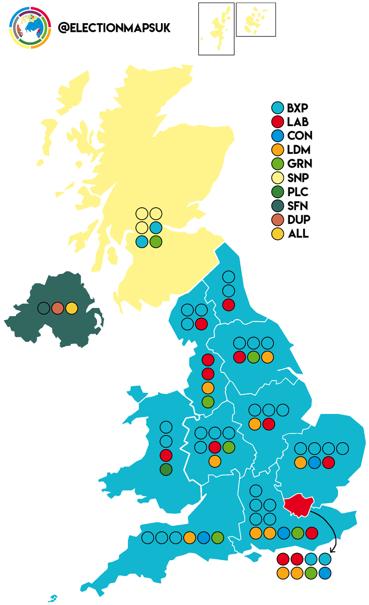 "Election Maps UK on Twitter: ""Seat Projection: BXP: 33 (+33) LAB: 12 (-8)  LDM: 10 (+9) GRN: 7 (+4) CON: 4 (-15) SNP: 3 (+1) PLC: 1 (=) UKIP: 0 (-24)  Changes w/ 2014.… https://t.co/5zSZ2sarQ7"""