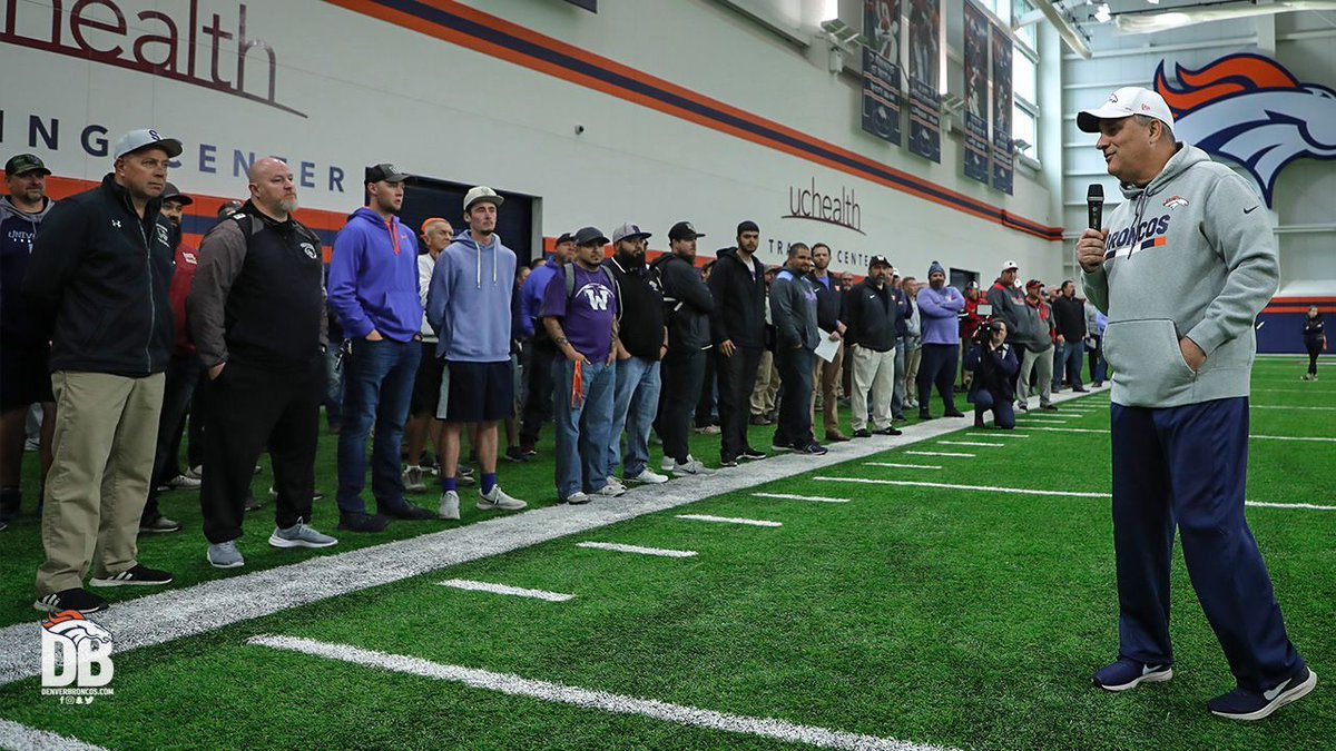 Coach Fangio invited more than 130 local high school coaches to watch today's #BroncosOTAs practice.   #LetsPlayFootball 🏈