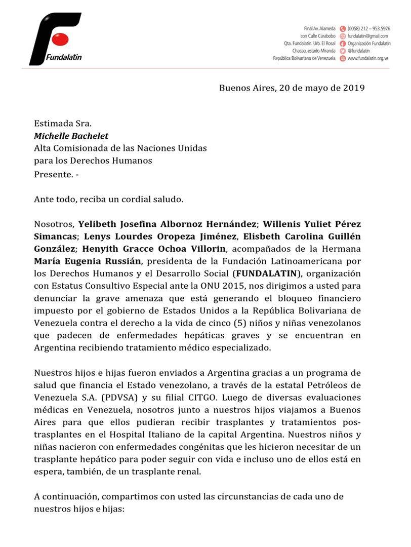 FUNDALATIN acompaña la denuncia ante ONU de las Madres de niños que requieren transplante de Hígado denuncian que la vida de sus sus hijos peligra por culpa del Bloqueo de EEUU a Venezuela. Desde CITGO se financiaba el tratamiento completo @mbachelet #MedidasCoercitivasAsesinas