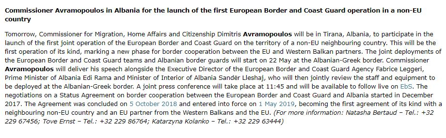 On my way to Tirana, to launch the first ever #EUBorderGuard operation with a non-EU country. Milestone both for EU and Albania, and an important step in bringing Western Balkans closer to the EU.We can only tackle irregular migration & better protect our common borders together.
