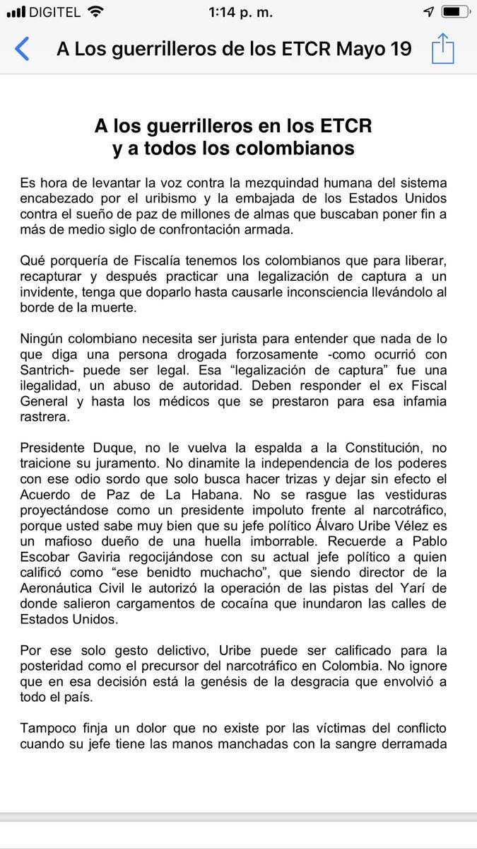 """@IvanMarquezFARC"""" fue un error haber entregado las armas a un Estado tramposo""""."""