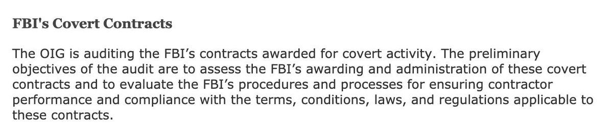 """FYI: The Justice Department Inspector General is auditing the FBI's contracts awarded for """"covert activity."""""""