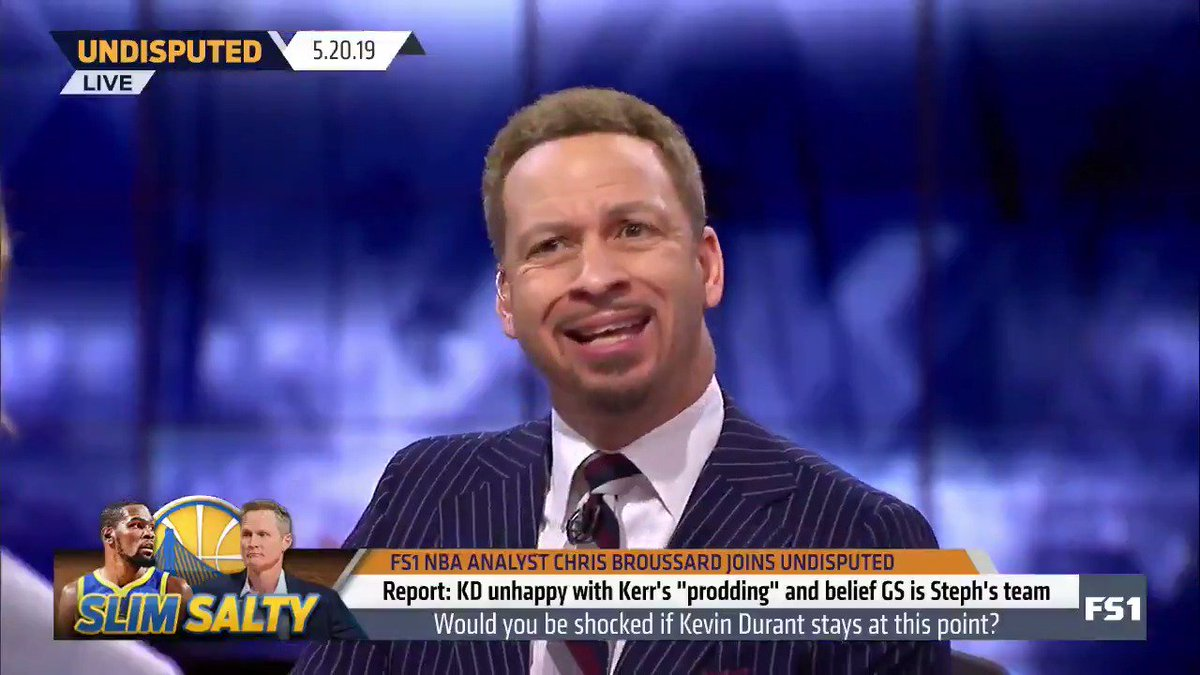 """What players tell me is, KD is recruiting guys to go to New York with him, right now. If we hear that, you can't tell me the Warriors players don't hear that."" — @Chris_Broussard"