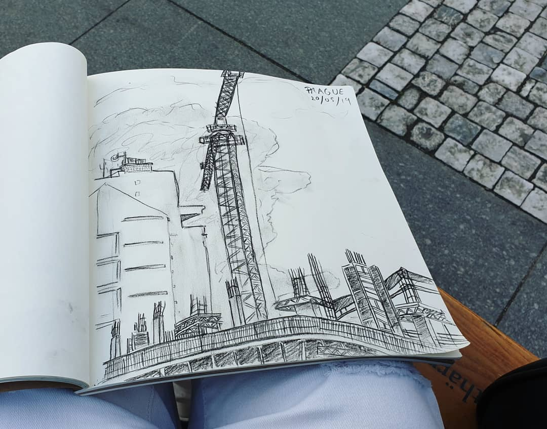 10/ it took me a while and a bucket full of dirty water #Coffee to drag myself out today 😂☕☕☕ im so tired - lol - but managed to get some sketching & exploring done in #Prague! 😎🇬🇧❤🇨🇿❤🇪🇺 #EUsupergirlTour #TheFutureisEurope