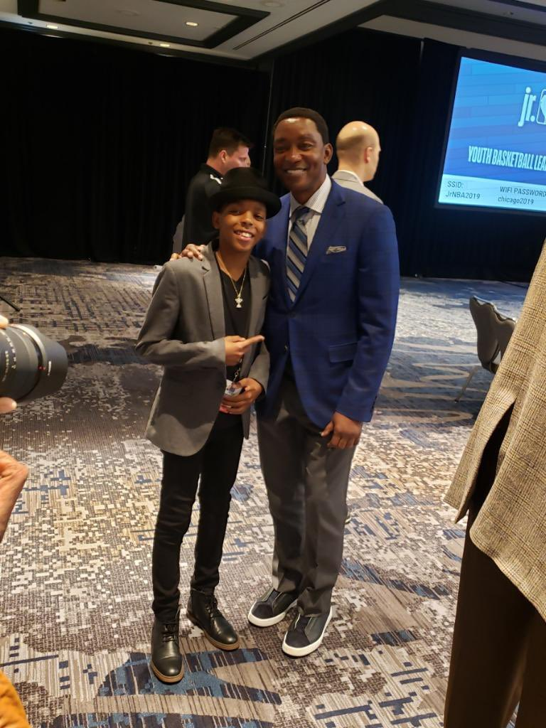 Had an amazing time with such influential people that I look up to. 🙏🏾 Me with @NBATV's @IsiahThomas at the #JrNBAUAConference 🗣 @jrnba . #ProjectIAM #JahkilJackson