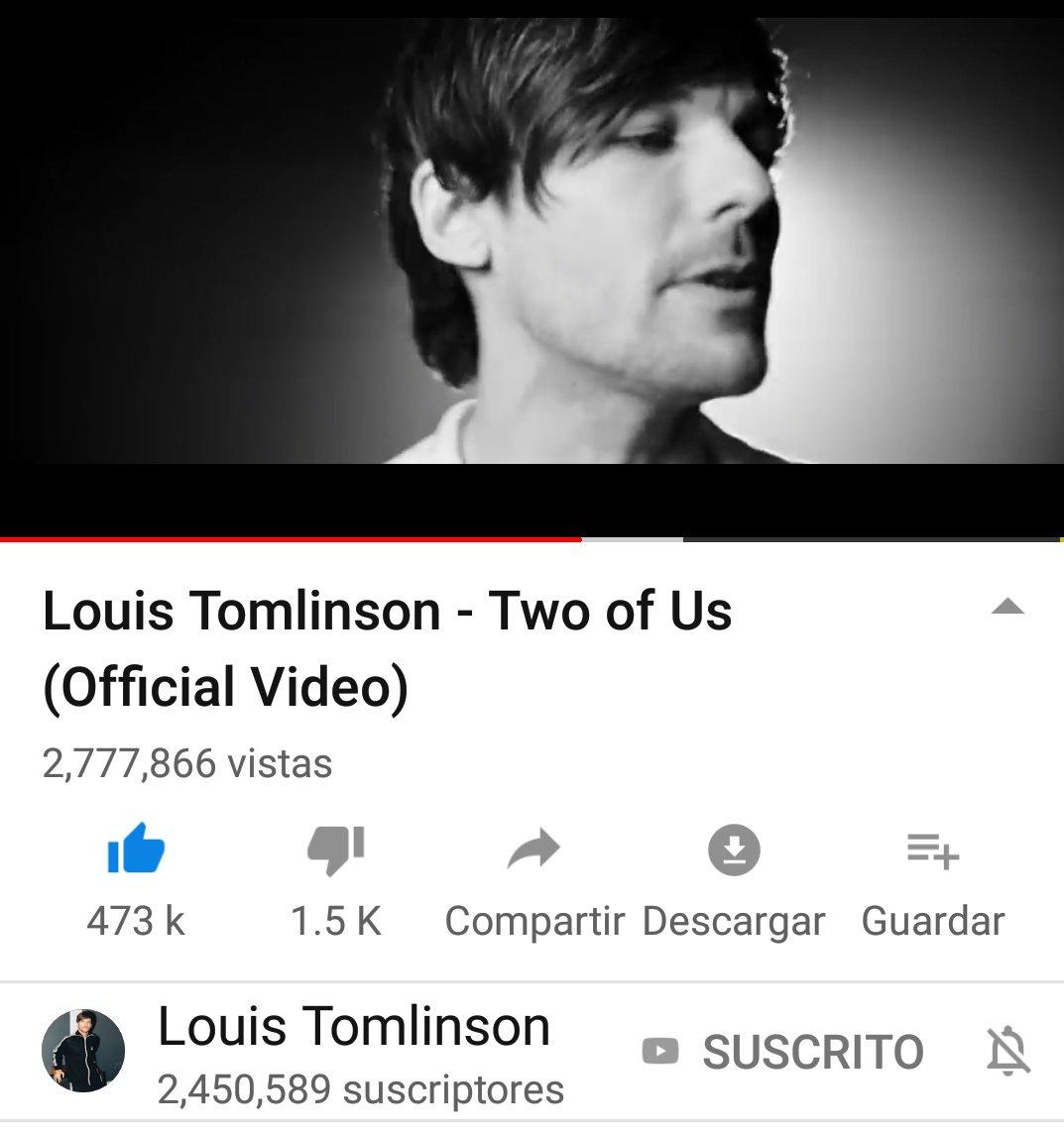 📣   Cuarto día del vídeo oficial de Two Of Usy ya son 2.7M👏 visitas: 2,777,866 Suscritores:2,450,589 (Faltan 98.3M para la meta🏅) @Louis_Tomlinson @LTHQOfficial #TwoOfUsMusicVideo