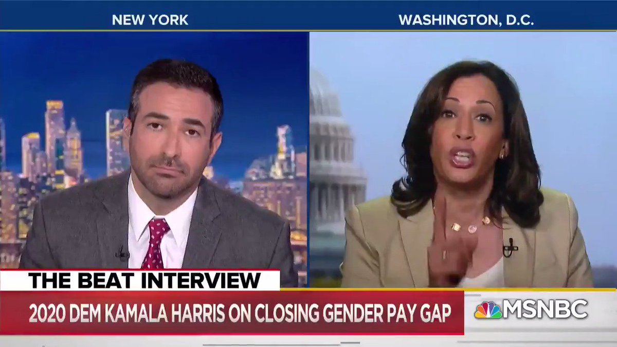 """""""There should be a consequence to the corporation if they're not paying people equally for equal work""""  """"Women deserve to be paid as much as men"""" - Senator @KamalaHarris"""