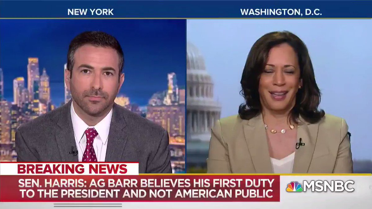 """Trump AG Barr """"has clearly demonstrated his bias in favor of the President and not in favor of justice"""" - @KamalaHarris"""