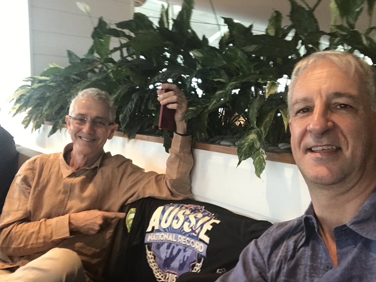 Bags packed. Checked in. Mike Dyer and I relaxing in the lounge as we head off to @SkydivePerris for the @aussiebigways 150 way record attempt . Let&#39;s #gobigorgohome and #getintoskydiving.<br>http://pic.twitter.com/4ZDgKgCkmx