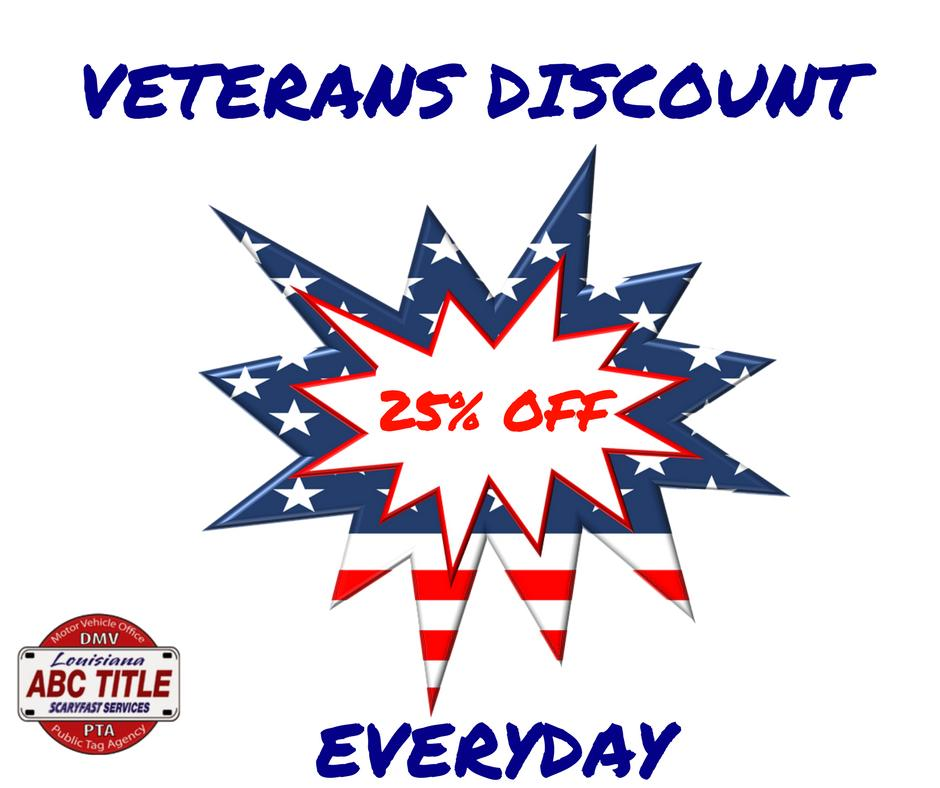 We offer a veterans discount! Come on in and take advantage of it, we'll be happy to help you. #veteran #usa #veterandiscount #discount #abctitle #harvey #scaryfast #dmvservices #armyveteran #militaryveteran