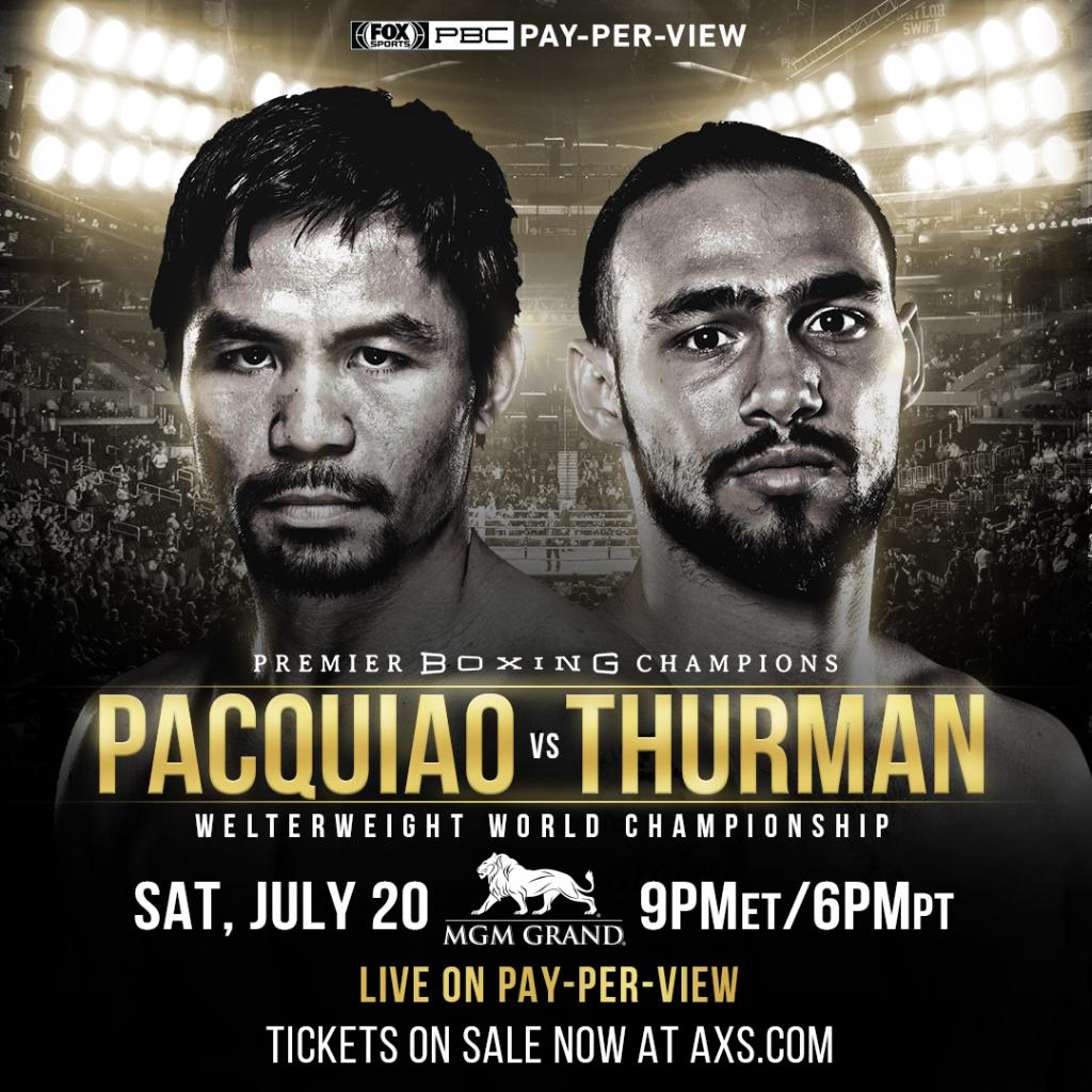 JUST ANNOUNCED - The biggest fight of the summer - a Welterweight World Championship bout between @MannyPacquiao and @keithfthurmanjr - goes down at MGM Grand Garden Arena on Saturday, July 20th. #PacquiaoThurman  🎟 are on sale NOW at: http://mgm.gr/3O8e6S