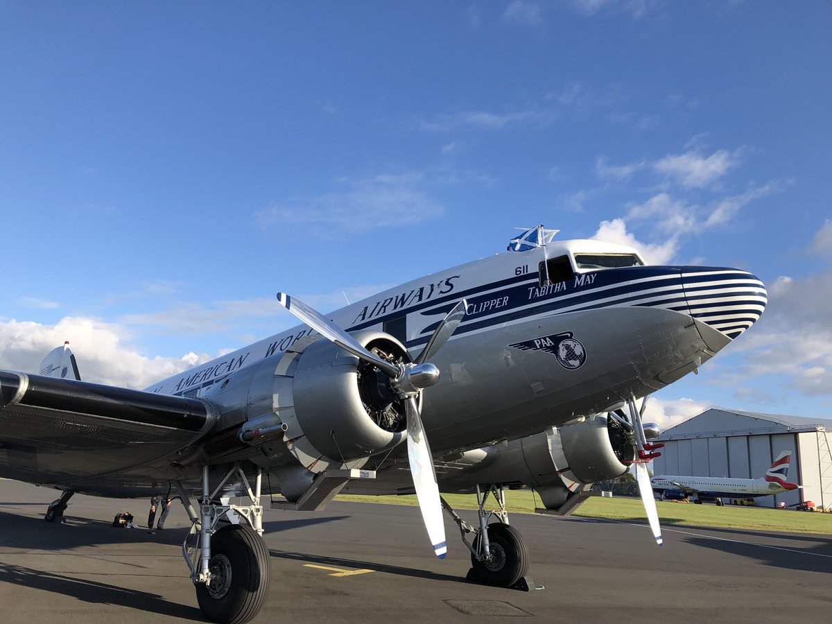 Clipper Tabitha May has arrived in Scotland, at Glasgow-Prestwick Airport. First US-based DC-3 to land in  Europe for #DDay75. First #PanAm #DC3 in Europe since 1963. #ddaysquadron