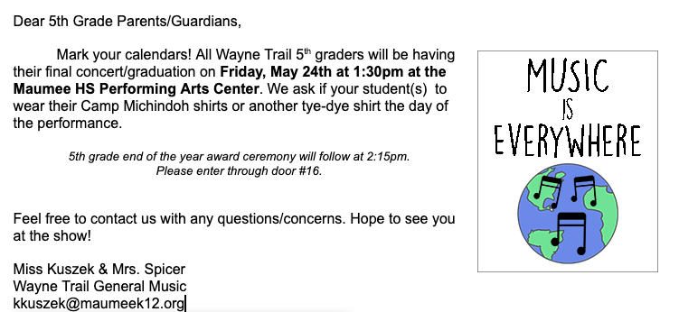 It is concert week for Wayne Trail 5th graders! We hope you can join us this Friday for the final concert before they move on to Gateway. #WeAreMaumee #MusicEducation <br>http://pic.twitter.com/hDiypyDoBj