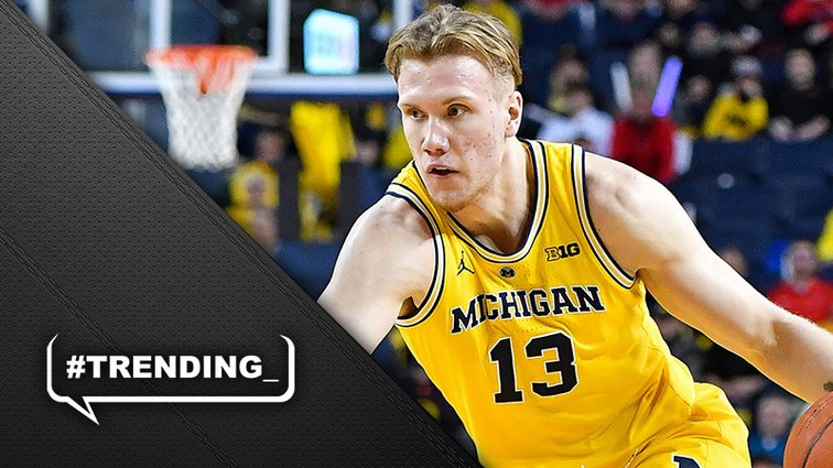 """""""I think I've done a great job this year to show many different aspects of my game,"""" Ignas Brazdeikis from @umichbball who was one of 12 guys we hosted for draft workouts on Monday.  @Keith_Langlois has more in today's Trending: https://on.nba.com/2wbHtHA"""