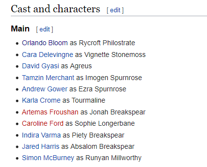 I don't feel like we're talking enough about the fact that Amazon are making a show called Carnival Row that's basically a fantasy noir mystery and everyone has names like this.