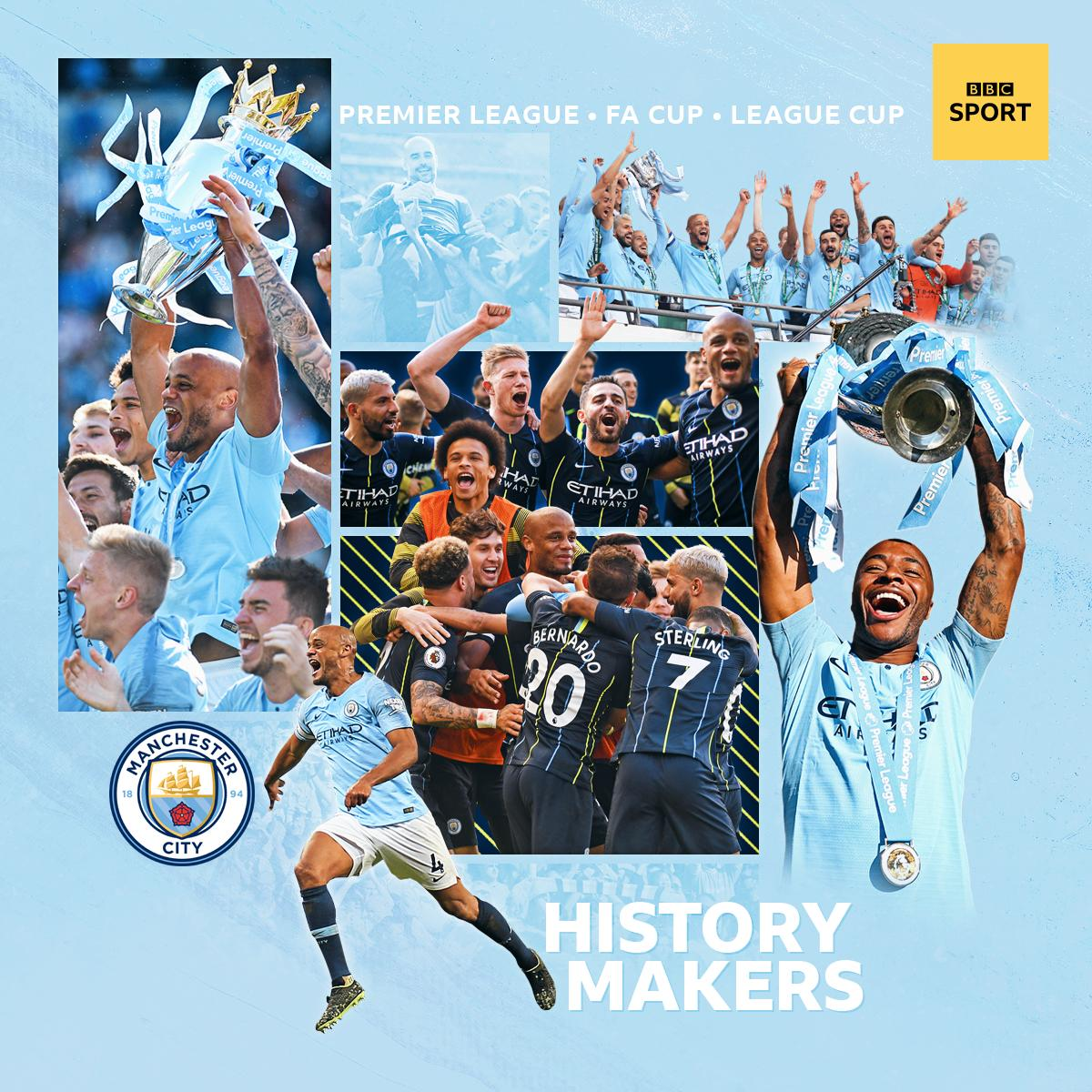 Graphic made for BBC Sport to celebrate Man City's domestic treble  #mancity #mcfc #kompany #sterling #pepguardiola