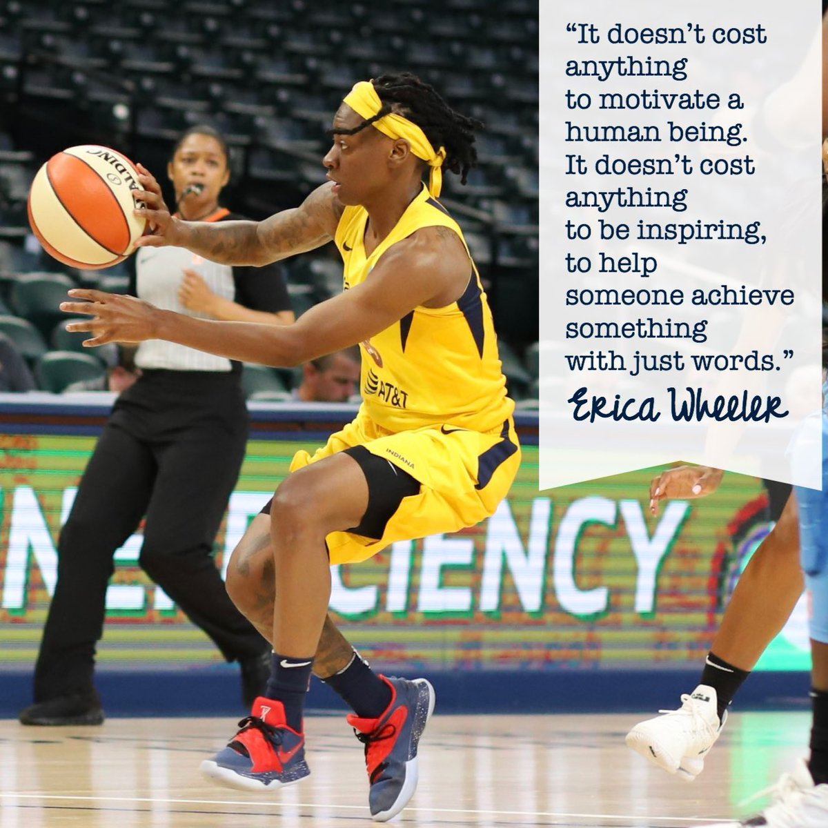 Life wisdom on being a positive presence in others' lives from @EWeezy_For3eezy. Image from Fever-Sky game 5-16.  #indianafever #fever20 #allforlove #wnba