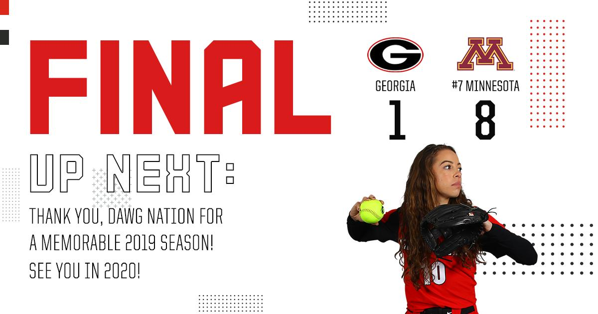 Georgia falls in the Regional Final to Minnesota, 8-1.   We can't wait to get back on the field in 2020 in front of the best fans in the country!   #Team23 | #GoDawgs