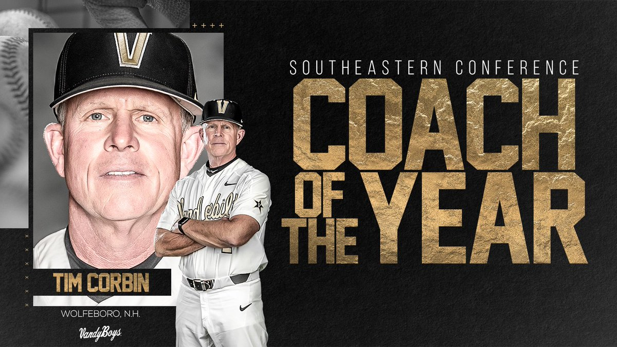 For the third time at the helm, Tim Corbin has been named #SECBSB Coach of the Year. 👏 #VandyBoys