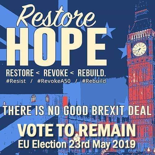 Restore hope... your vote counts. Be a #RemainVoter to #StopBrexit and protest in the #EUElections2019 because #Brexit is bananas.
