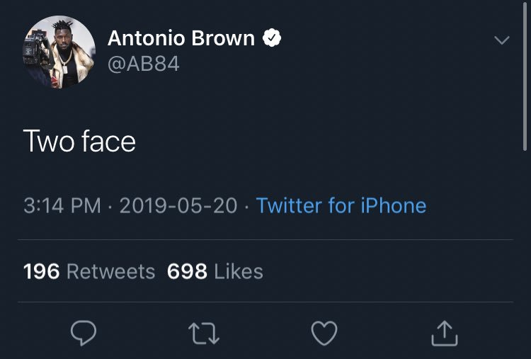 Antonio Brown responds to Ben Roethlisberger calling him two faced. Brown should know a thing or two about being two faced. #Steelers <br>http://pic.twitter.com/ywgWoX4OiI