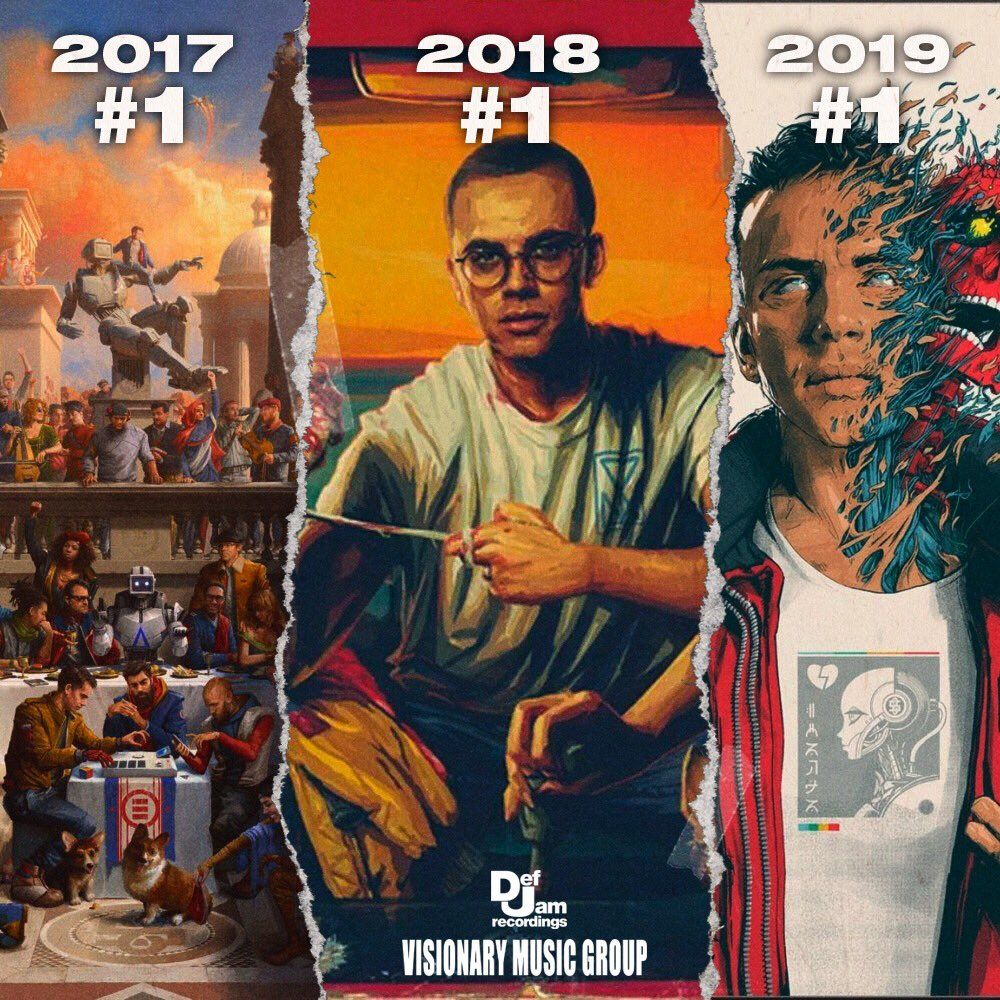 .@Logic301 is the only artist to have a #1 album in each of the past three years   💪💪💪