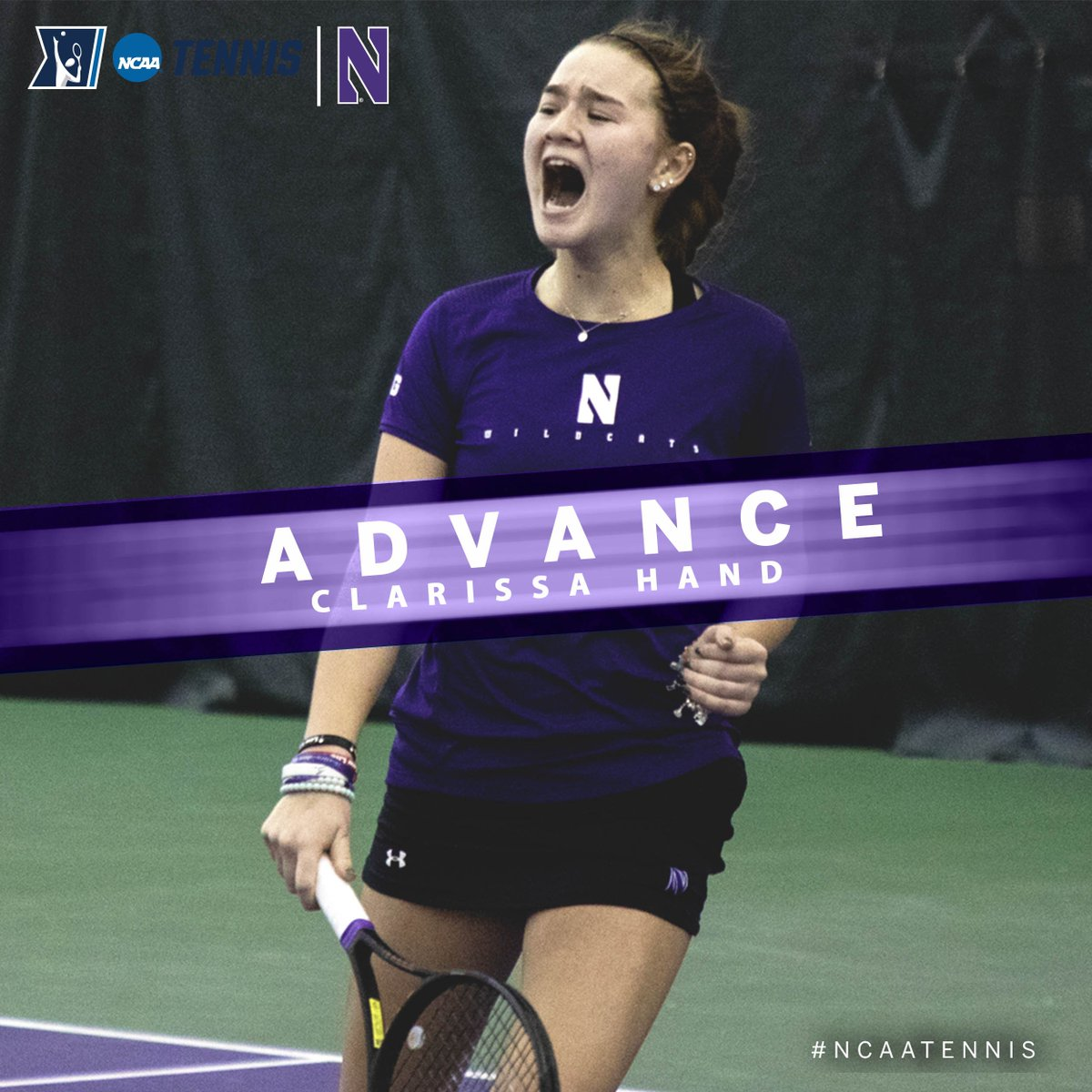 Clarissa Hand of @NUWildcatTennis is on moving to the @NCAATennis Singles Second Round after a 7-6, 4-6, 6-4 win over Emma Davis of Wake Forest in Monday's action in Orlando. @B1GWTennis