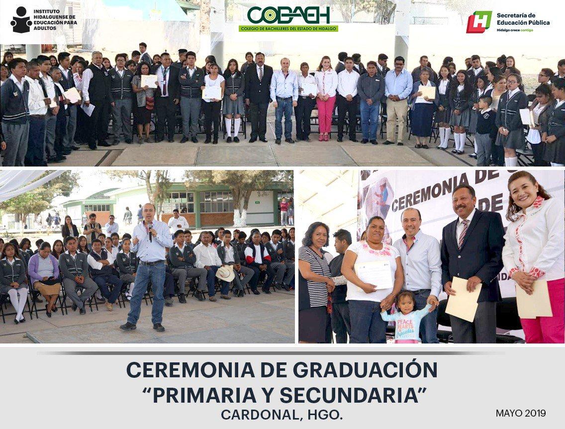 @iheaoficial Ceremonia de Graduación de Educación Básica y entrega de cartas de liberación de Servicio Social plantel @COBAEH_HGO Cardonal, Hgo.