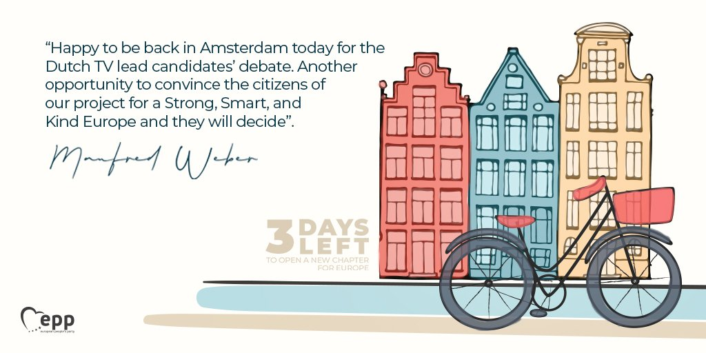 Today, @ManfredWeber takes part in a Lead Candidates debate organised by @Nieuwsuur at @VUamsterdam 🇳🇱🔴Tune in here 👉bvn.tv/bvnlive/ to watch the broadcast at 22:00 & follow it with #ThePowerOfWE for live coverage in English #StrongerTogether 💪#NewChapter4Europe 🇪🇺