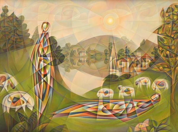 Green Pastures by John Reilly #retrospect #apaintingeveryday #art #HolyWeek #DivinityArrived #soulfulart #Lent #GoodFriday #HolySaturday #Easter #artofredemption #HeIsRisen #Psalm