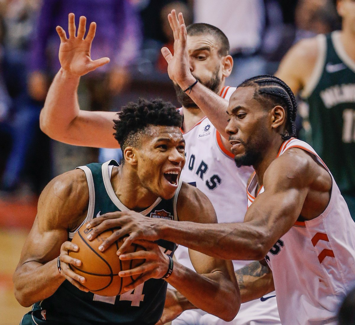 Giannis when guarded by Kawhi in Game 3:  41 possessions 4 PTS 2-12 FG 0-3 3PT 1 AST 2 TO  The Klaw clamped him.  (via @nbastats)
