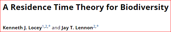 Ahead of Print: A Residence Time Theory for Biodiversity Ms: https://www.journals.uchicago.edu/doi/full/10.1086/703456…