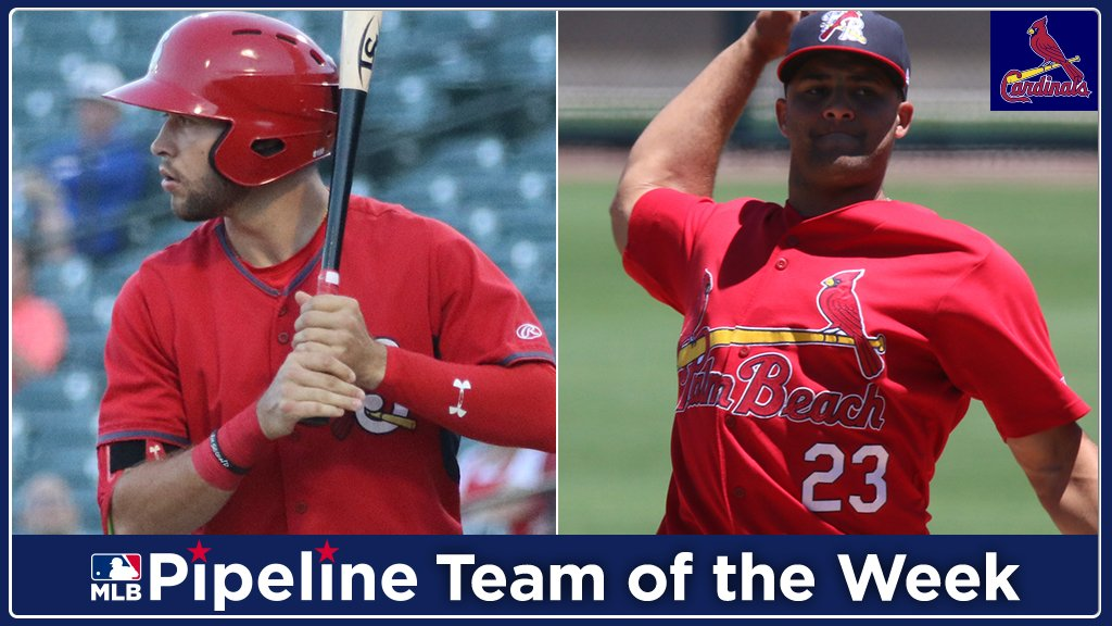 The #STLCards are the only #MLB team with two representatives on our Prospect Team of the Week, in @Sgf_Cardinals OF Dylan Carlson & RHP Junior Fernandez: https://atmlb.com/2wahUH2