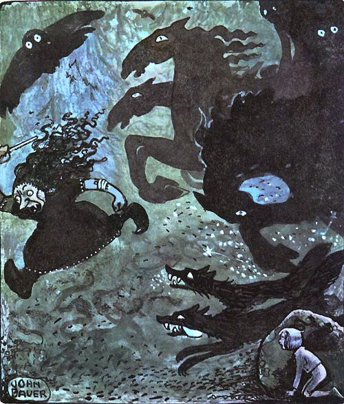Even in death Bauer was not to be separated from the creatures of folklore. Newspapers carried stories of the mythical denizens having claimed him into the watery deep. The Witch of Hulta Wood (nd), Boy in a Tree (nd) & Equestrian Scene (nd)