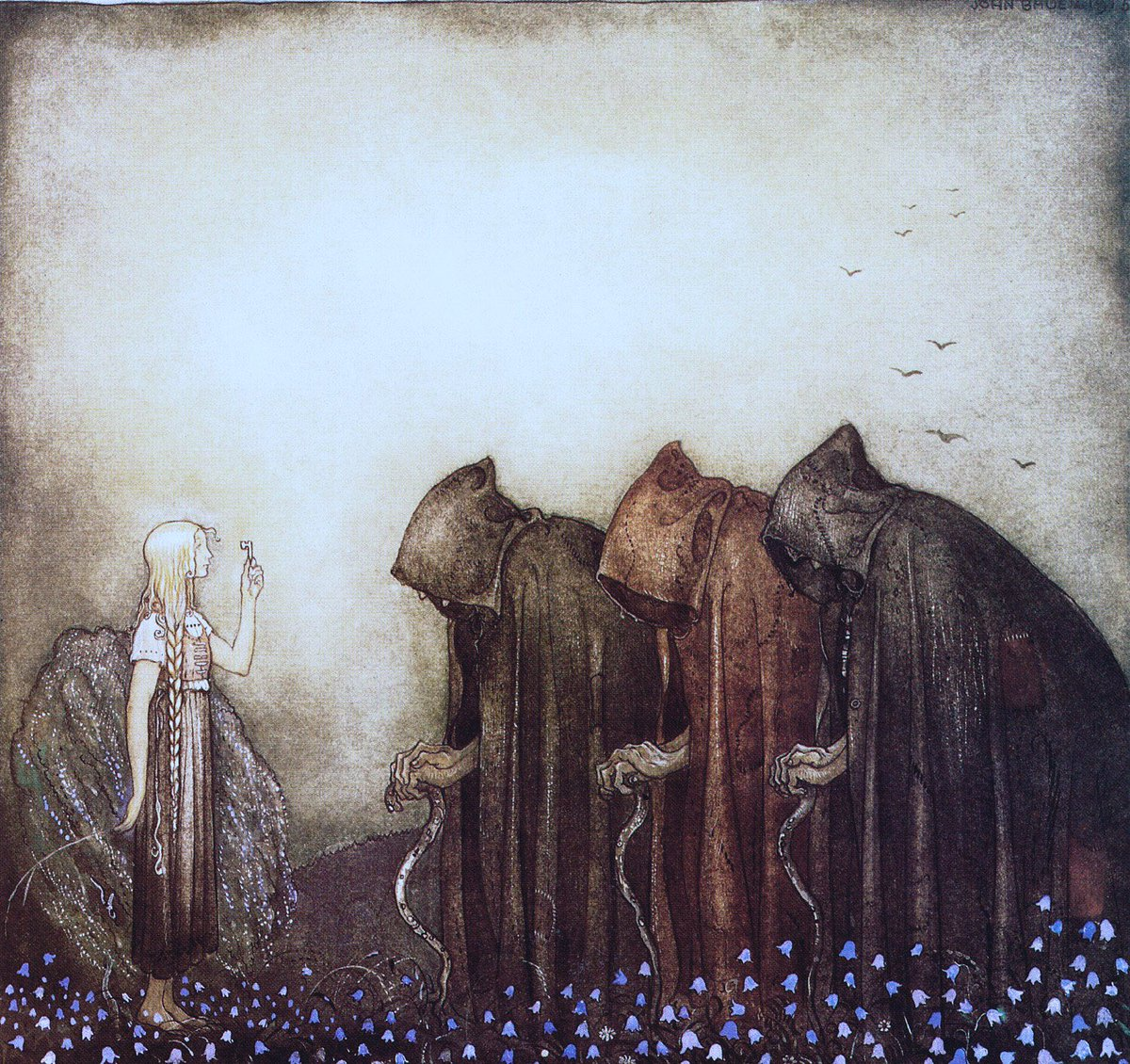Thread: John Bauer (1882-1918) was a Swedish artist who painted landscapes & mythology. He is famed for his images of gnomes & trolls. He was a short-lived artist but his work lives on in the imagination. And She Held Up a Key (1915), Princess (c1913) & Troll (1914)