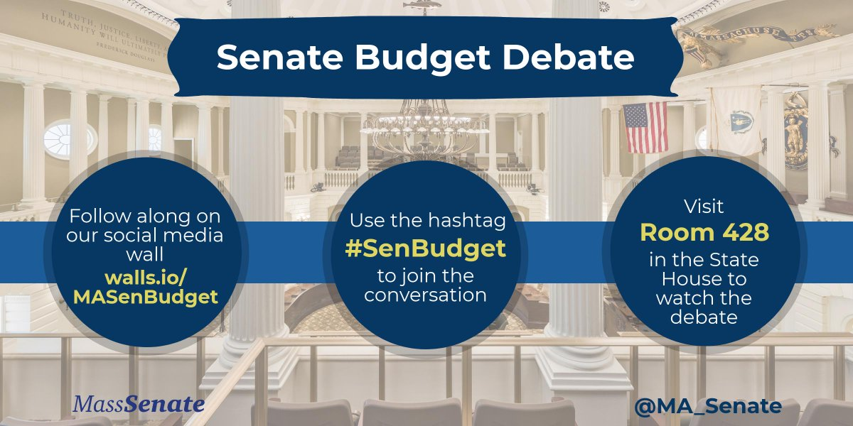 Less than a day away from #SenBudget debate!  Make sure to follow that hashtag for updates and watch the live stream starting tomorrow at http://malegislature.gov #mapoli