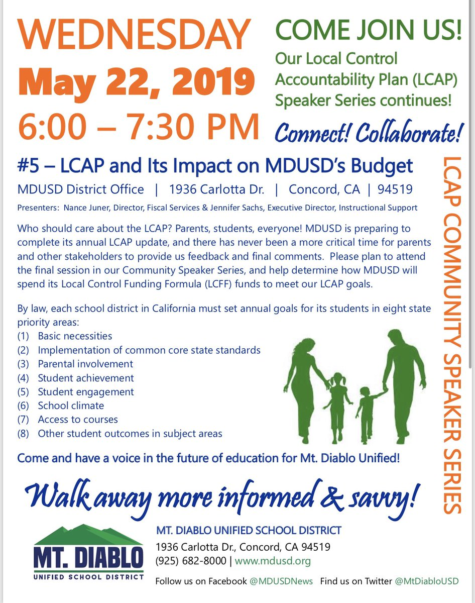READ ALL ABOUT IT!!   MDUSD is hosting the final LCAP Speaker Series Event this Wednesday 5/22 from 6-7:30 @ the District Office! We hope you will join us to discuss the LCAP and Its Impact on MDUSD's Budget!   See you there! <br>http://pic.twitter.com/FhYtkoNJQ5