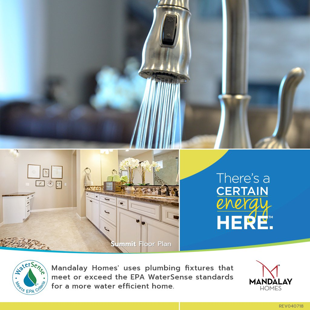 Mandalay Homes' uses plumbing fixtures that meet or exceed the EPA WaterSense standards making your home more water efficient. http://bit.ly/2wbKZBE  #impact #sustainability #savewater #water
