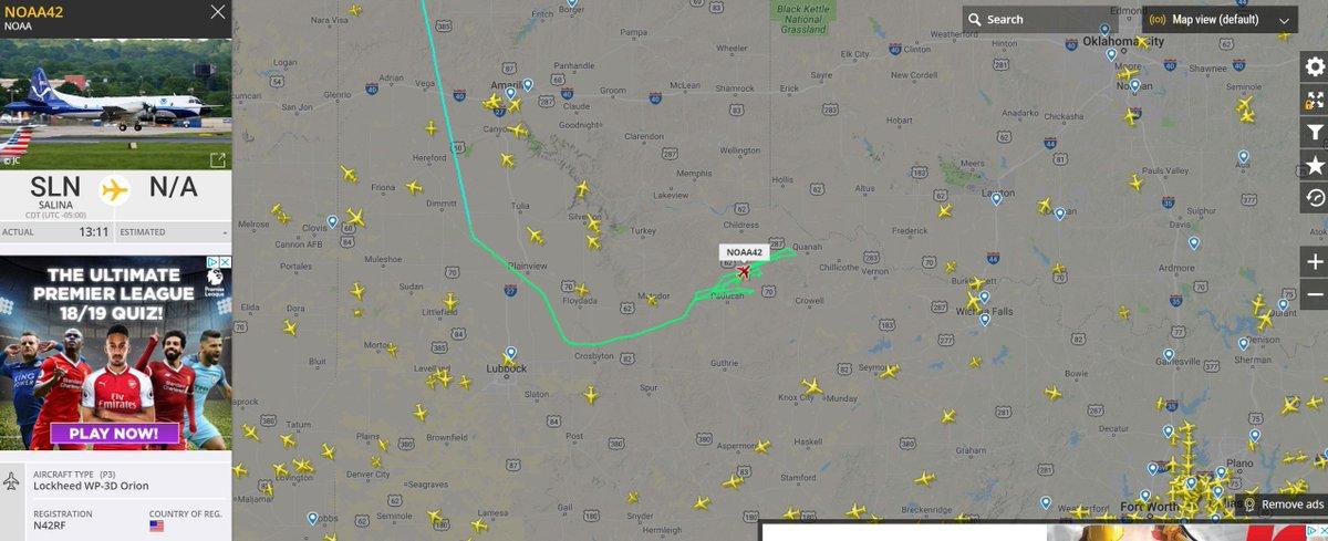NOAA aircraft also showing nearby: https://www.flightradar24.com/NOAA42/209549ab #avgeek #aviation #potn