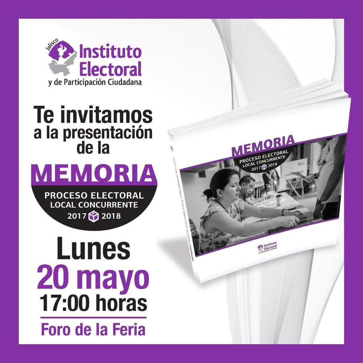 #QueNoSeTePase  Hoy lunes 20 de mayo en la Feria Municipal del Libro de Guadalajara presentaremos la Memoria del Proceso Electoral https://t.co/jshRgMHMmS