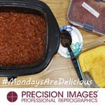 It's Monday! Today Chef David brought us all chili, a beef AND vegetarian version, PLUS cornbread! We are so lucky here at #PrecisionImages to have #ChefDavid #MondaysAreDelicious #BestJobEver