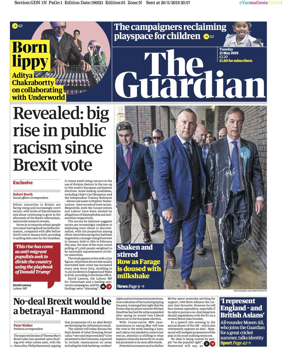 The Guardian front page, Tuesday 21 May 2019 | Revealed: big rise in public racism since Brexit vote