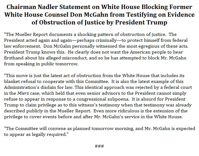 Read my statement on the White House blocking Don McGahn from testifying tomorrow to @HouseJudiciary on evidence of obstruction of justice by President Trump: