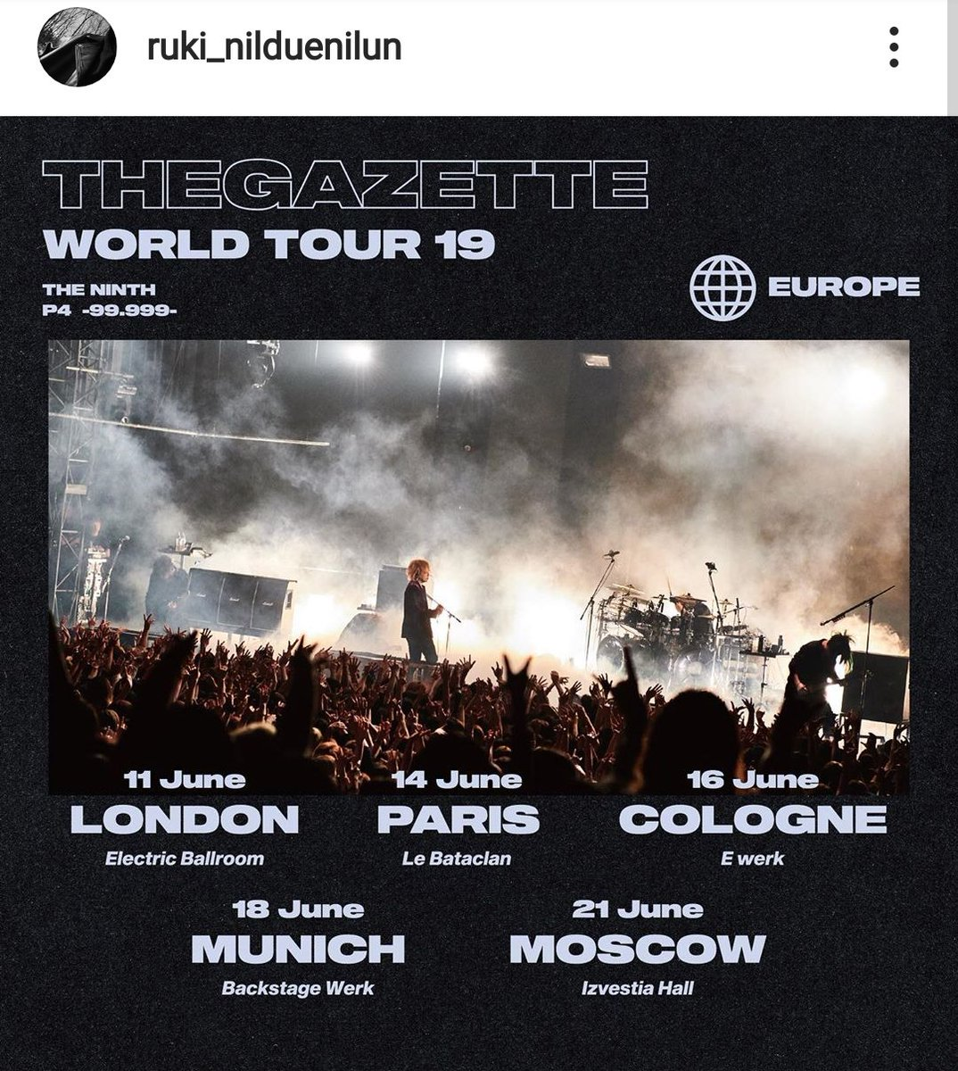 @RUKItheGazettE ruki_nilduenilun Next🔥🔥 #thegazette #ninth #worldtour2019 #phase4 #london #paris #cologne #munich #moscow #shanghai #taipei -----------------------------------------------