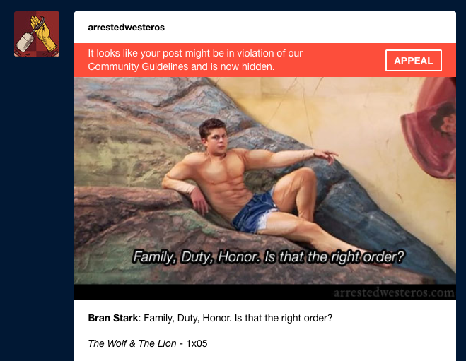 I forgot to check to see what posts were flagged in Tumblrs Great NSFW Purge and... this is incredible:
