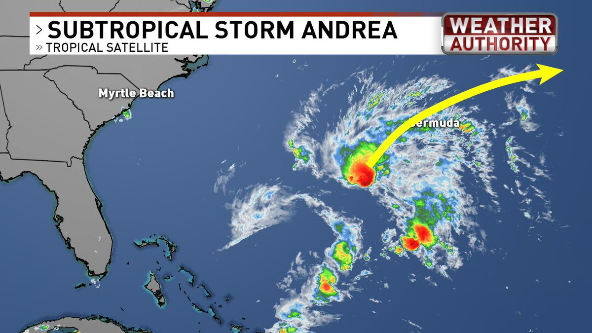Subtropical storm #Andrea has formed.  Hurricane Hunters have found winds of 40 mph.  It will move north then northeast and never impact the U.S. #scwx #ncwx
