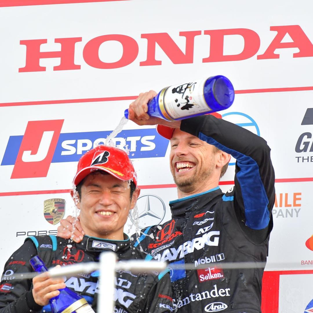 Raybrig NSX-GT (Button &amp; Yamamoto) took its 2nd consecutive 2nd place finish and Jenson Button was leading the Championship for the 1st time since the 2012 #AustralianGP. #SuperGT #OTD 2018 #Suzuka (Photo via @JensonButton)<br>http://pic.twitter.com/DznWYOhdhN